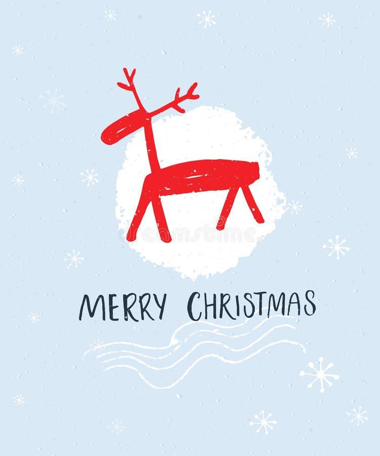 O Feliz Natal entrega a rotulação e a ilustração tirada mão dos veados vermelhos no fundo azul ilustração do vetor