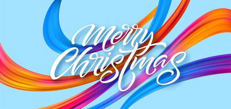 O Feliz Natal entrega tirado rotulando a bandeira para projetar ilustração stock