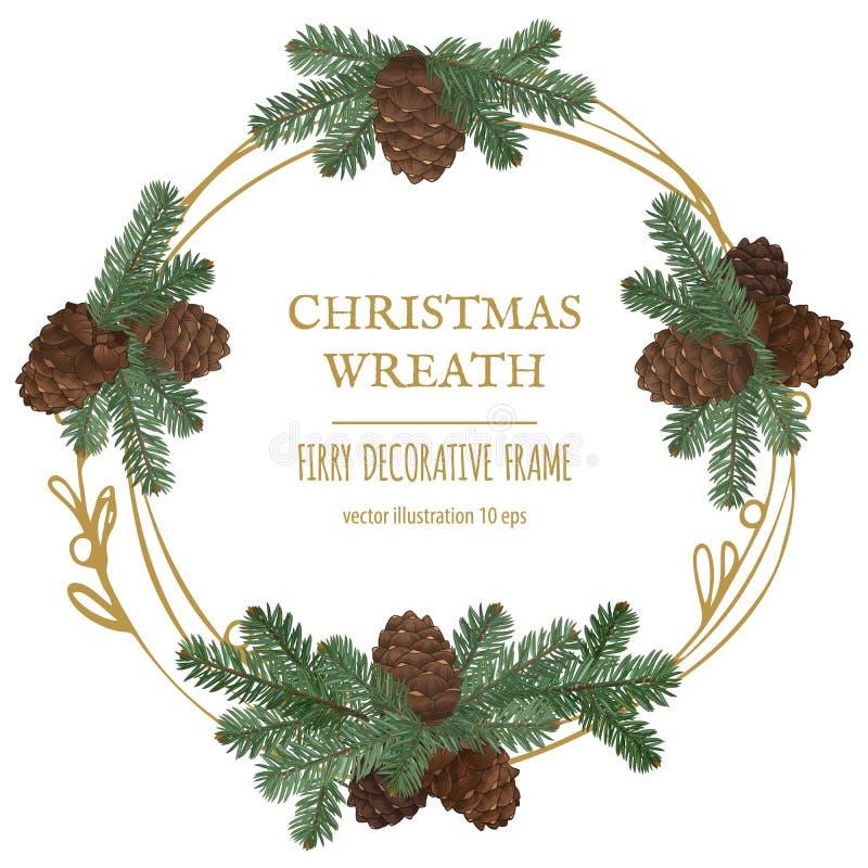 O Feliz Natal envolve-se, decoração do ano novo com ramos do pinho e cones imagens de stock