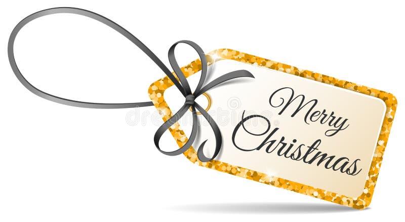 O Feliz Natal etiqueta com o brilho dourado e fita preta o vetor isolado ilustração royalty free