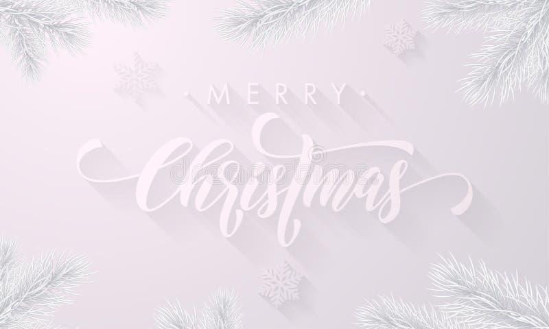 O Feliz Natal geia a fonte gelada da caligrafia e o fundo branco da neve com os flocos de neve congelados do gelo para o cartão d ilustração royalty free