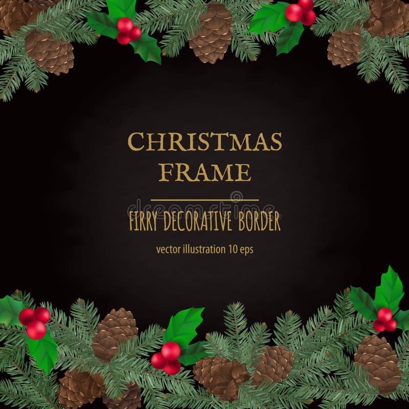 O Feliz Natal limita, decoração do ano novo com ramos do pinho e cones imagem de stock