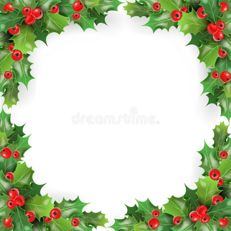 O Feliz Natal molda com visco, Holly Berries Molde do cartão dos feriados de inverno ilustração stock