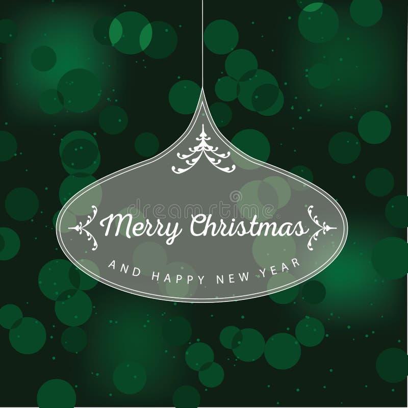 O Feliz Natal ornament no fundo verde do bokeh ilustração do vetor