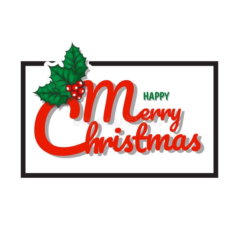 O Feliz Natal text com preto da folha e do quadro do ornamento imagens de stock royalty free