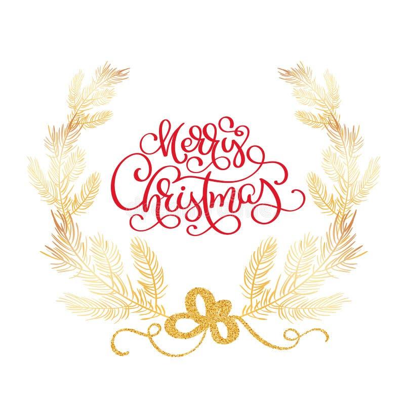 O Feliz Natal text e a ilustração do vetor da beira da árvore de abeto O cedro realístico ramifica, quadro isolado no branco ilustração stock