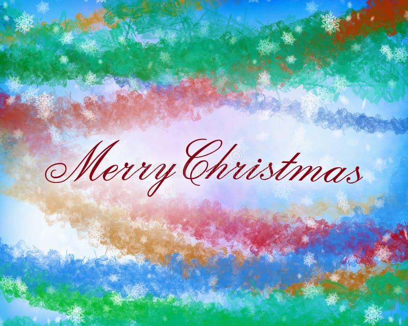O Feliz Natal text na luz - azul, cor amarela e vermelha verde ilustração stock