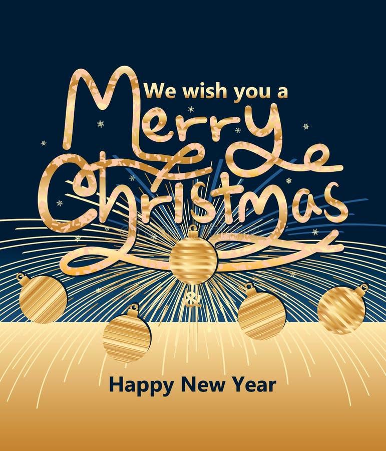 O Feliz Natal traz a fogo de artifício o ano novo ilustração stock