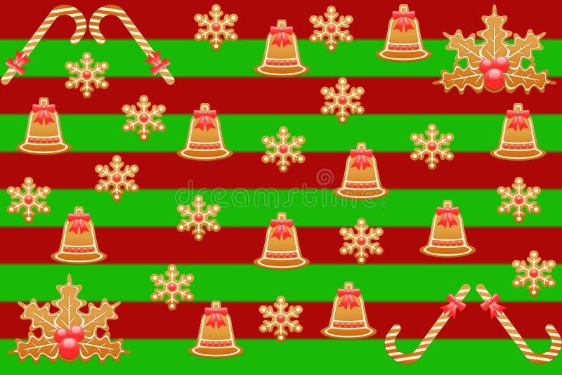 O Feliz Natal um fundo listrado vermelho e verde com cookies do pão-de-espécie modela grande como o papel de papel de embrulho de ilustração do vetor