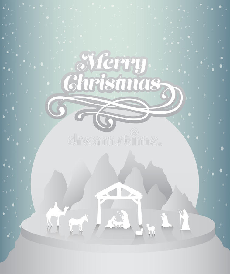 O Feliz Natal vector com cena da natividade ilustração royalty free