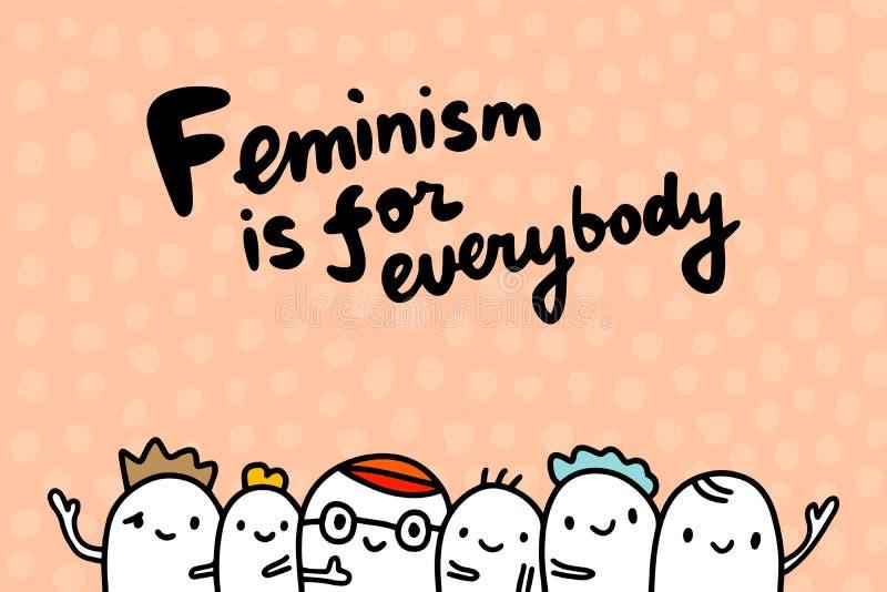 O feminismo é para todos ilustração tirada mão do vetor no minimalismo do estilo dos desenhos animados ilustração royalty free