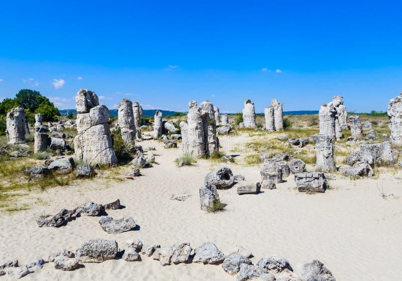 O fenômeno natural Pobiti Kamani, conhecido como a floresta de pedra fotografia de stock royalty free