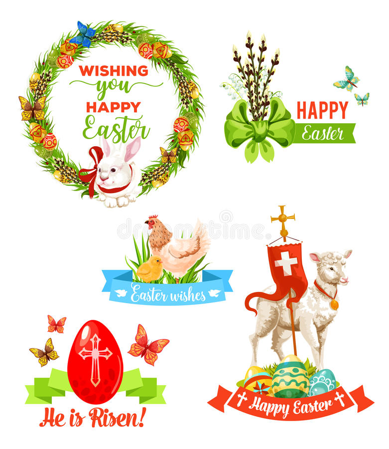 O feriado da Páscoa deseja o grupo do emblema dos desenhos animados ilustração do vetor