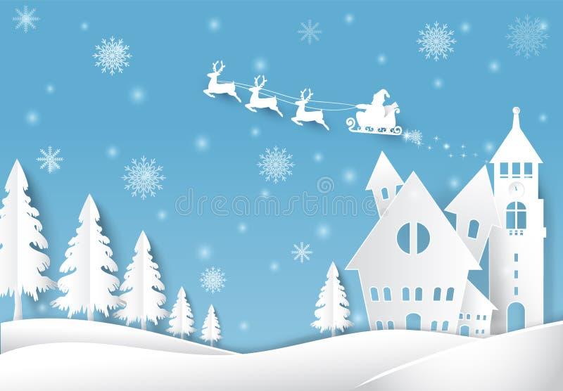 O feriado de inverno Santa e o Natal da neve temperam o estilo de papel da arte ilustração stock