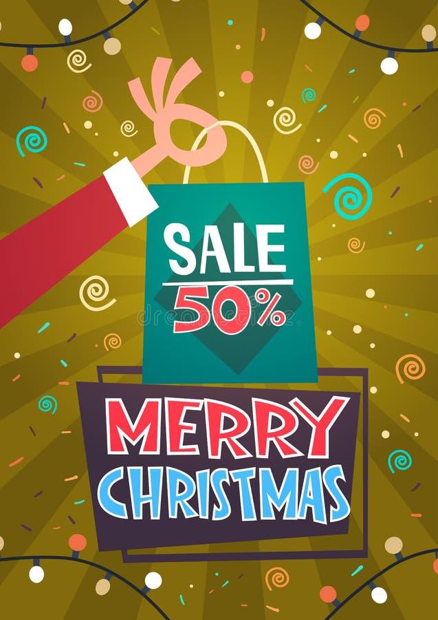 O feriado de inverno sazonal do ano novo feliz da promoção do disconto da venda do Feliz Natal apresenta o conceito da compra ilustração stock