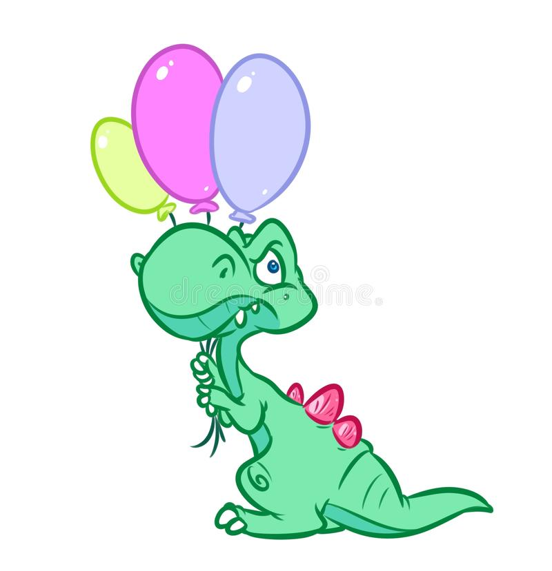 O feriado do dinossauro balloons a ilustração dos desenhos animados ilustração do vetor