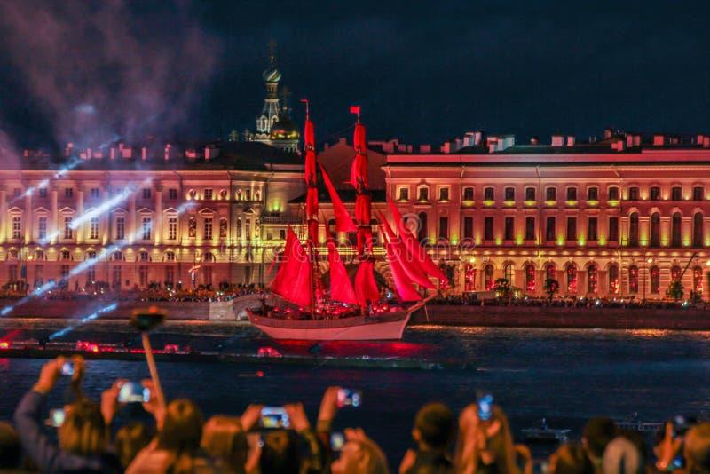 O feriado do escarlate das velas em St Petersburg fotografia de stock