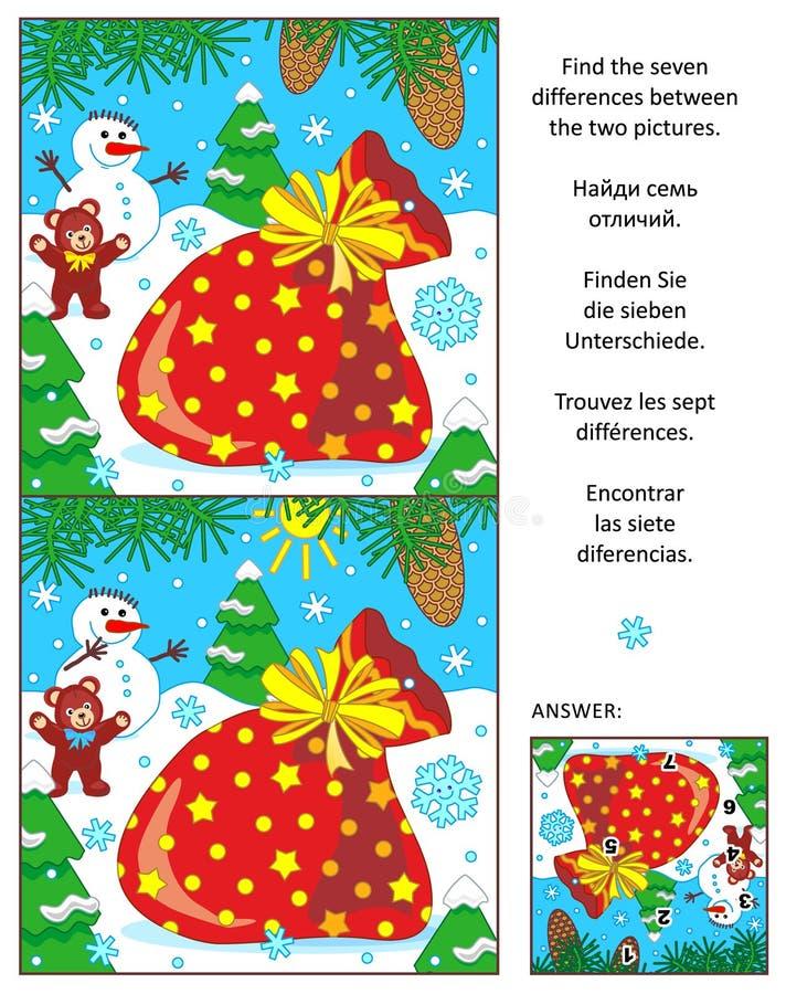 O feriado encontra que as diferenças confundem com o saco do ` s de Santa ilustração royalty free