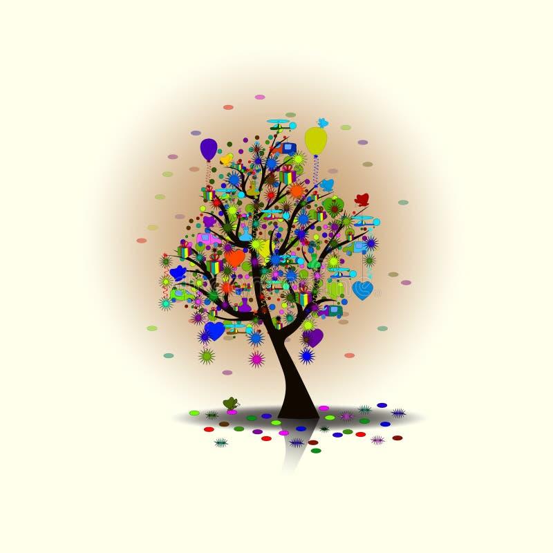 O feriado feliz, presentes da árvore, árvore mágica, as surpresas da árvore, com balões Vector a ilustração EPS10 ilustração do vetor