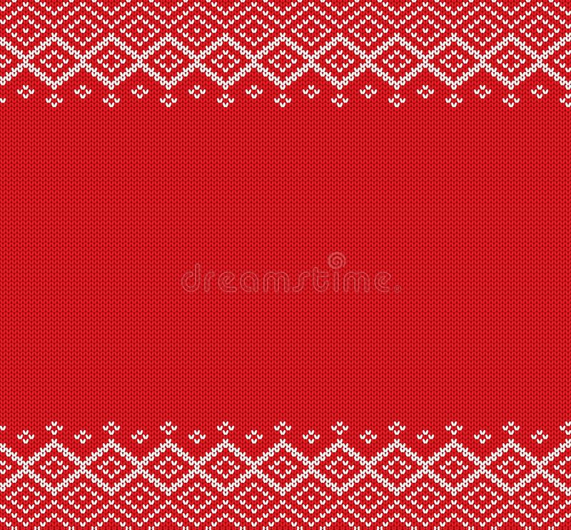 O feriado fez malha o ornamento geométrico com espaço vazio para o texto Projeto da camiseta do inverno do Natal da malha ilustração royalty free
