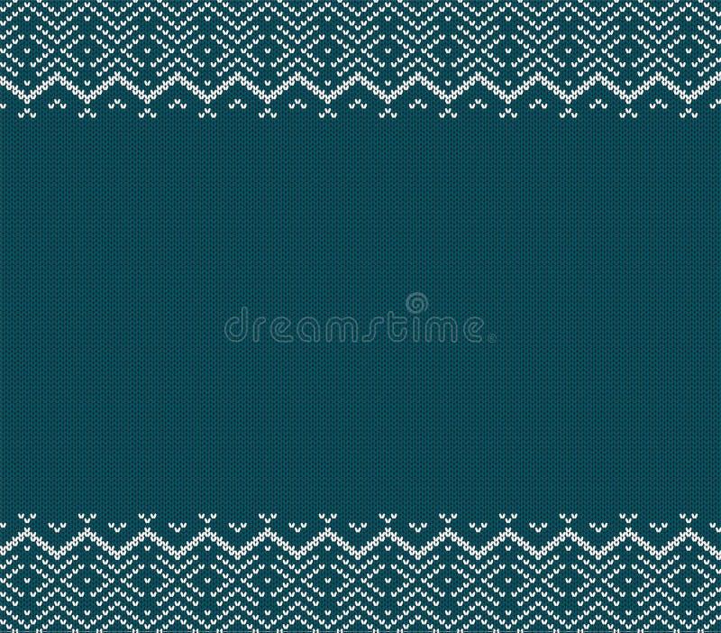 O feriado fez malha o projeto azul do ornamento com espaço vazio para o texto Teste padrão sem emenda do Natal ilustração do vetor