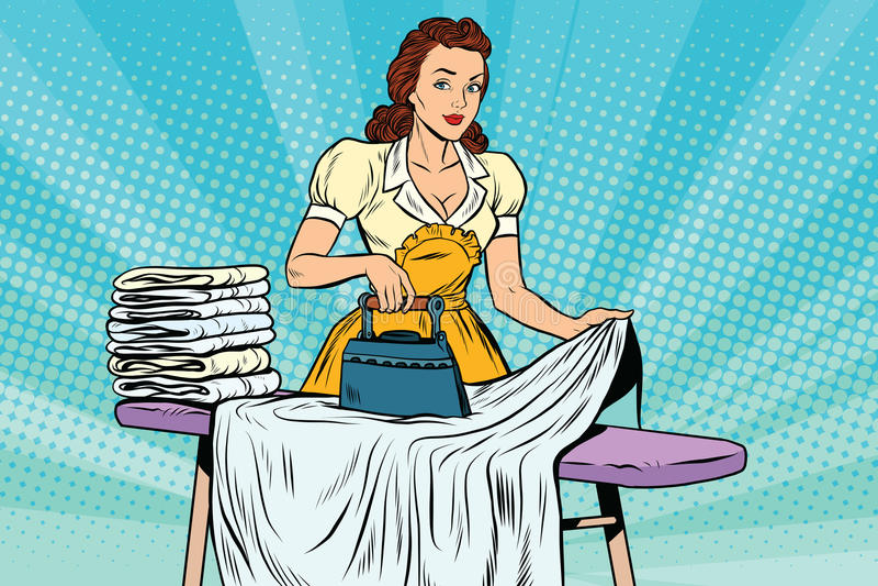 O ferro da empregada doméstica do hotel passa o linho ilustração stock