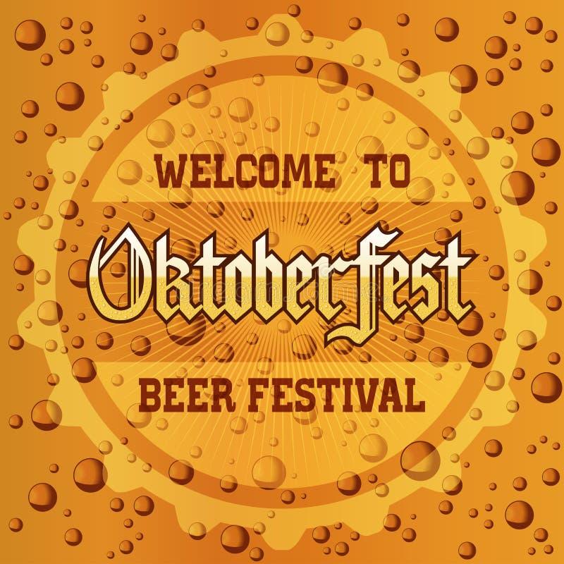 O festival da cerveja de Oktoberfest com cerveja borbulha fundo da textura da espuma ilustração do vetor