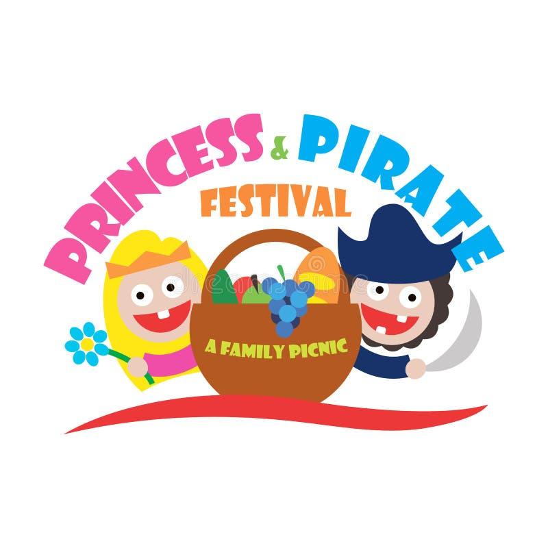 O festival da princesa e do pirata do logotipo uma família toma parte num piquenique ilustração royalty free