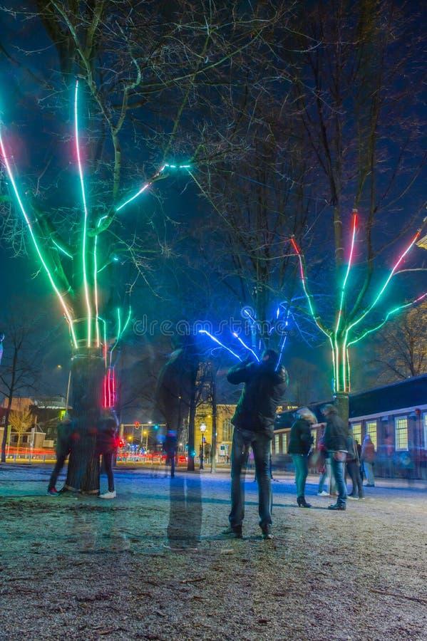 O festival 2016-2017 de Países Baixos - de Amsterdão - de luz de Amsterdão fotos de stock