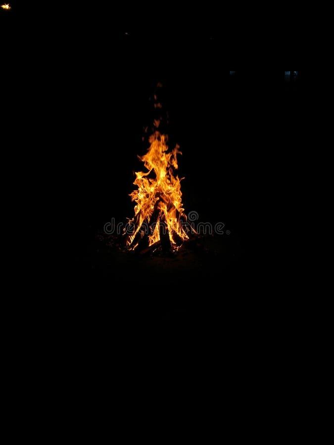 O festival indiano Lohri comemorou pela fogueira de madeira do relâmpago fotos de stock