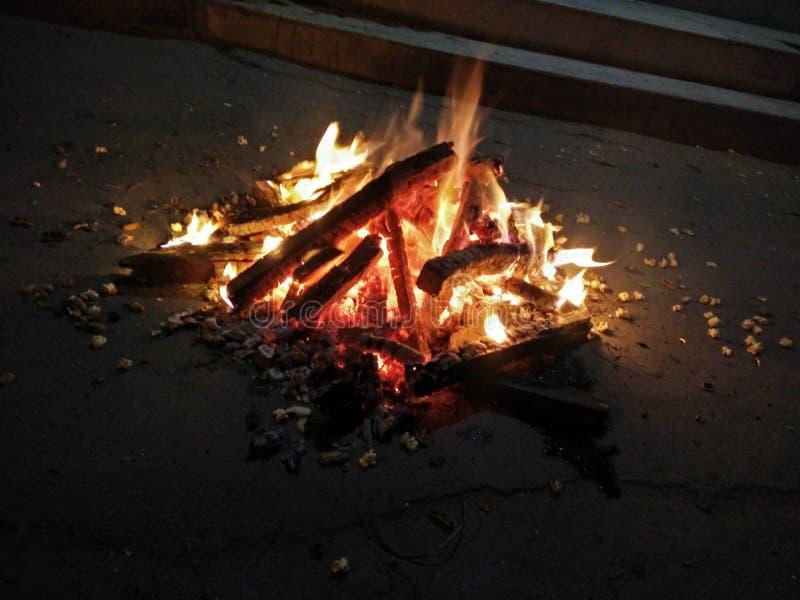 O festival indiano Lohri comemorou pela fogueira de madeira do relâmpago imagens de stock