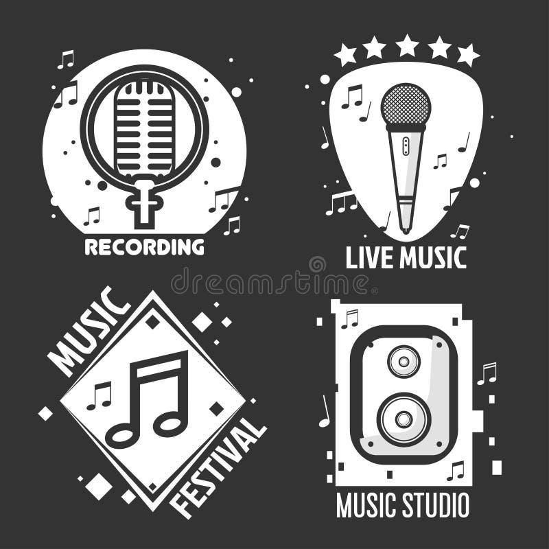 O festival ou a loja de música etiquetam os fones de ouvido do vetor, microfone para o estúdio de gravação ilustração royalty free