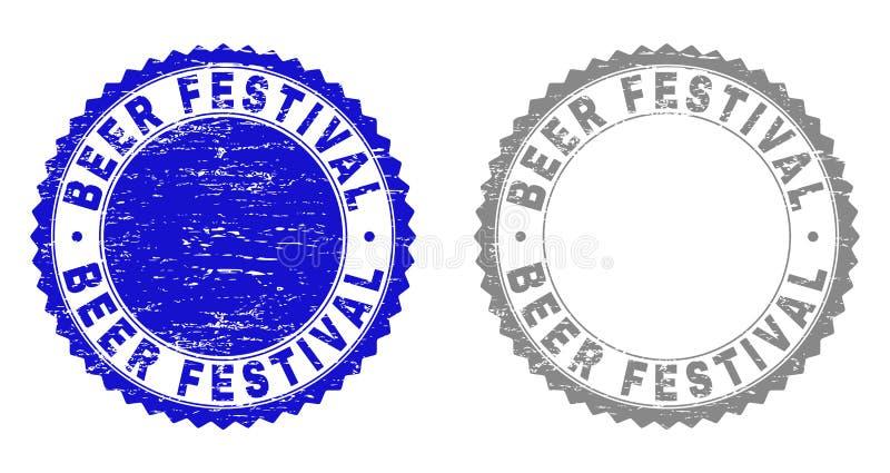 O FESTIVAL Textured da CERVEJA riscou selos do selo ilustração stock
