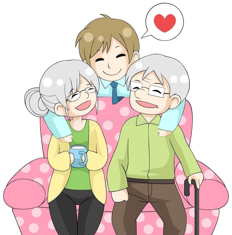 O filho bonito dos desenhos animados está abraçando seus pais idosos da pessoa idosa ilustração do vetor