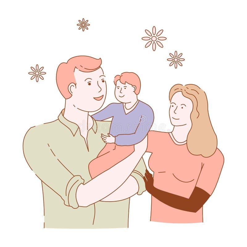 O filho do pai da mãe da família isolou caráteres ama e importa-se ilustração stock