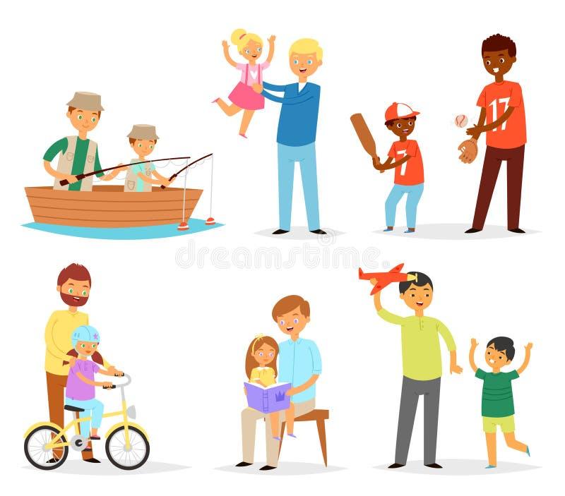 O filho do paizinho do vetor do pai e da criança e da filha das crianças que joga o dia de pais da ilustração da pesca junto ajus ilustração royalty free