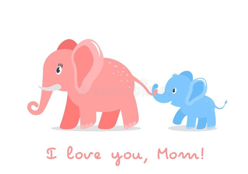 O filho engraçado do elefante do caráter guarda a cauda de sua mamã conceito do amor para pais e dia de mãe Ilustração lisa do ve ilustração do vetor