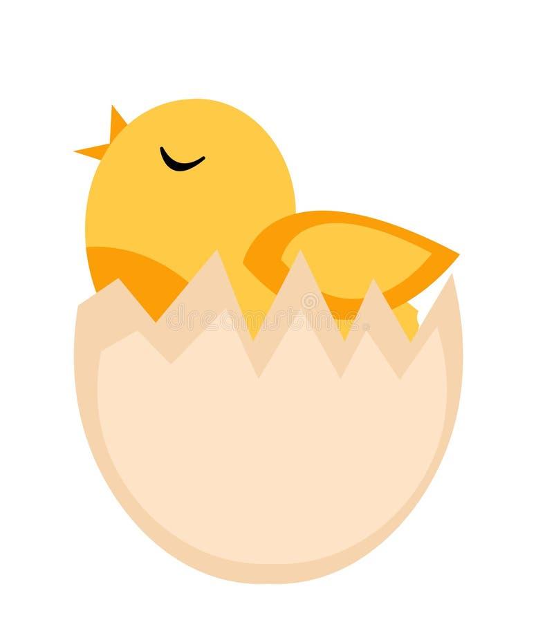 O filhote de passarinho chocou do ovo, ícone amarelo da galinha, estilo liso No fundo branco Ilustração do vetor, clipart ilustração stock