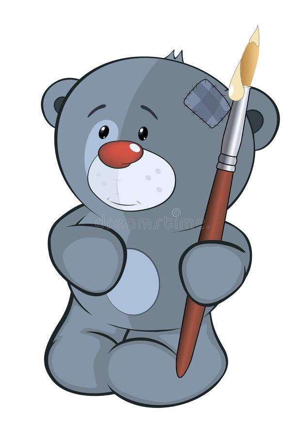 O filhote de urso enchido do brinquedo os desenhos animados do artista ilustração royalty free