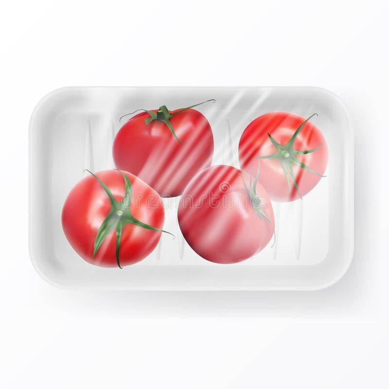 O filme de estiramento transparente cobriu o recipiente de alimento plástico descartável com os tomates ilustração royalty free