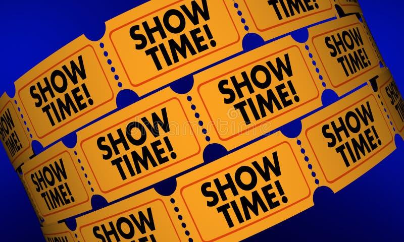 O filme de Showtime Tickets a admissão do desempenho do jogo ilustração stock