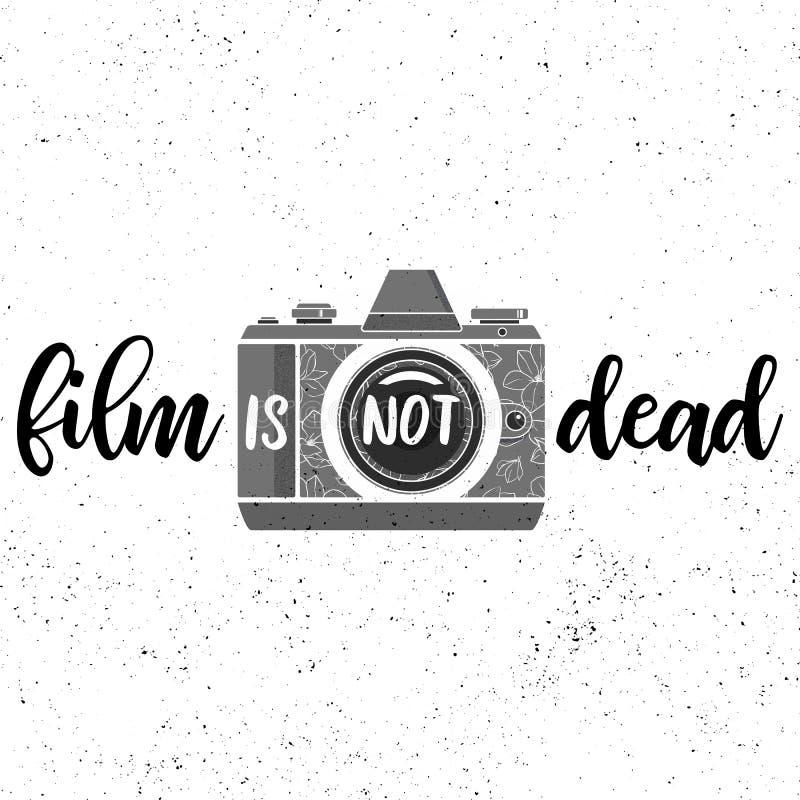 O filme não está inoperante Cópia preto e branco com o photocamera do filme no fundo do grunge ilustração do vetor