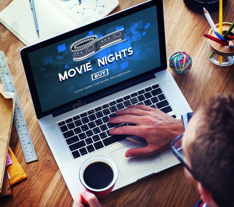 O filme Tickets o conceito do teatro do cinema da audiência das noites foto de stock royalty free
