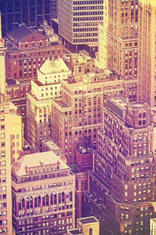O filme velho do vintage estilizou a imagem aérea de New York City foto de stock