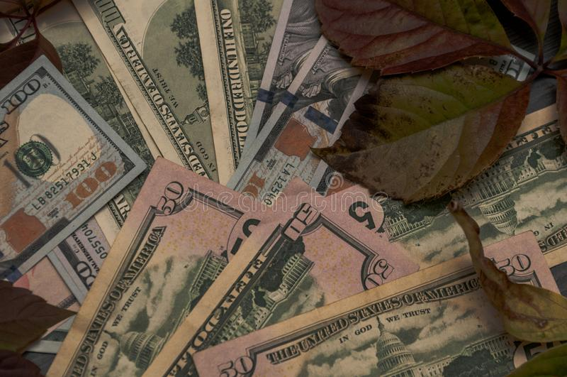 O fim da estação do outono, o começo do inverno, dinheiro está sempre no fundo imagens de stock