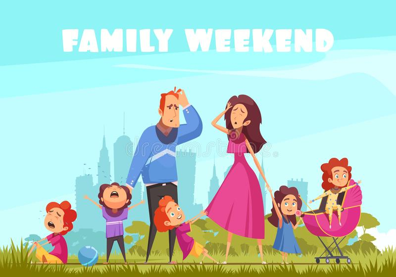 O fim de semana da família coloriu o fundo ilustração stock