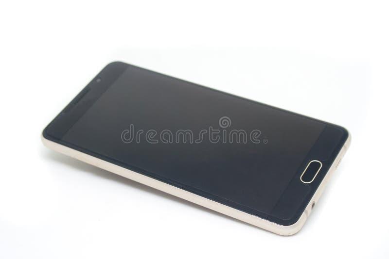 O fim usou acima o smartphone ou o móbil preto isolado no fundo branco fotos de stock