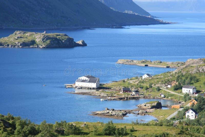 O fjord de Tangstad em Lofoten imagem de stock