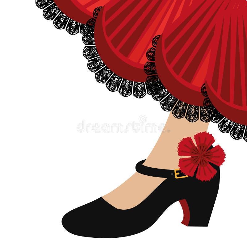 O flamenco tradicional calça o ícone ilustração do vetor
