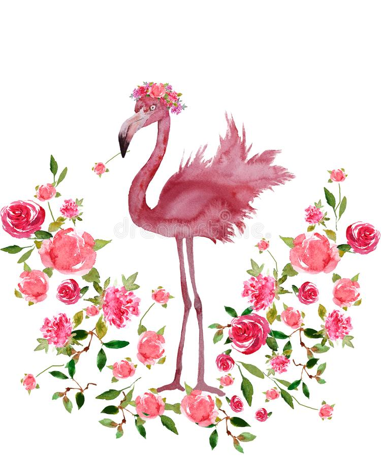 O flamingo cor-de-rosa e a grinalda floral entregam a aquarela tirada isolada ilustração do vetor